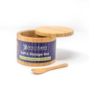 Bamboo Salt Box with Lid and Spoon